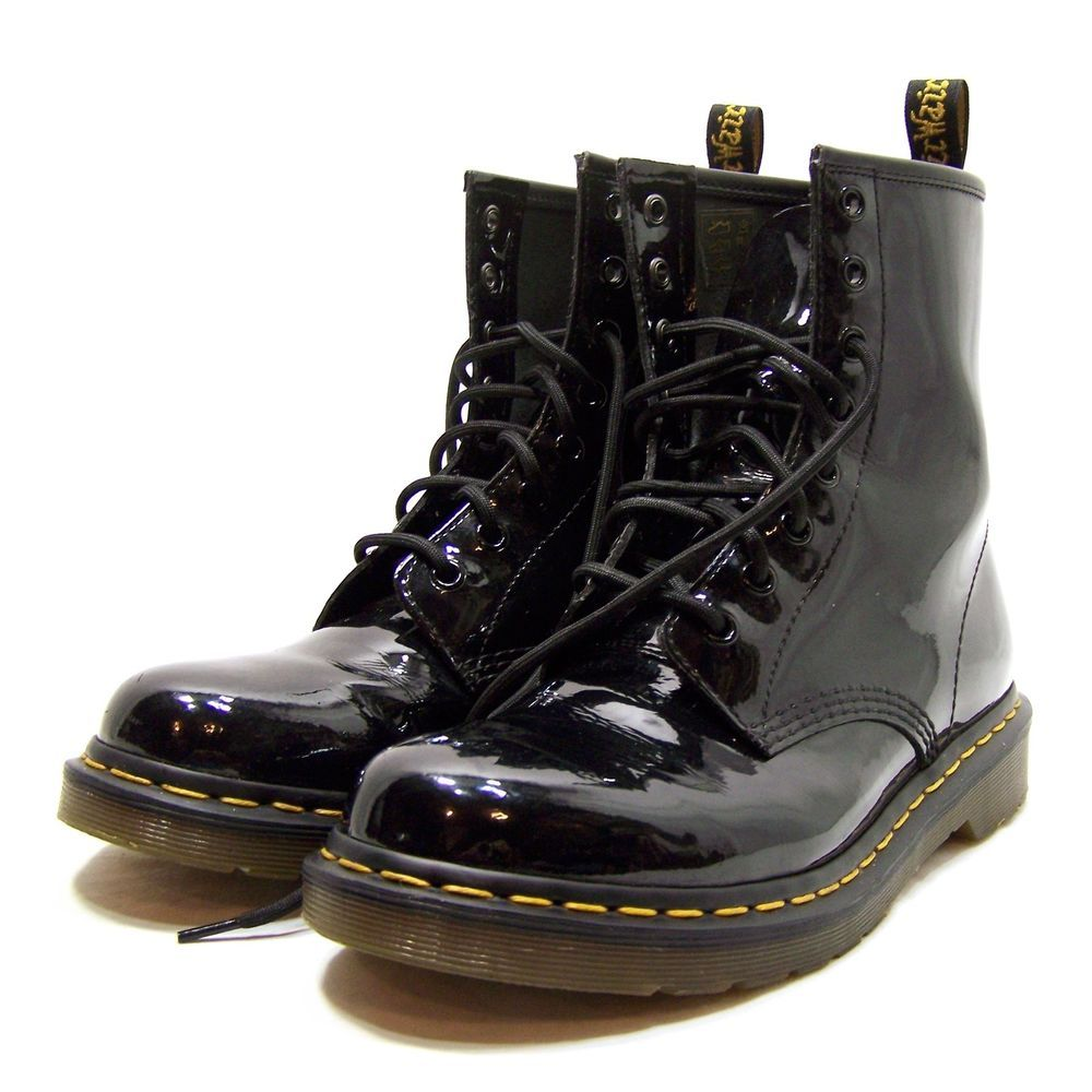 Dr. Martens Womens Black Patent Leather Ankle Boots Size 9 #DrMartens…