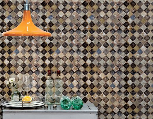 Sand Checkered Faux Tile Wallpaper M8827 By Walls Republic Fauxfinish Mural