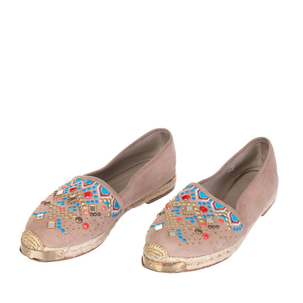 41f22ef424d54 GIUSEPPE ZANOTTI Leather Espadrille Flats Size 38 UK 5 Studded Embroidered  #fashion #clothing #shoes #accessories #womensshoes #flats (ebay link)