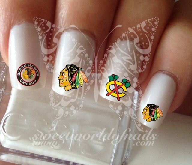 Chicago Blackhawks Nail Art NHL Nail Water Decals Slides | Chicago ...