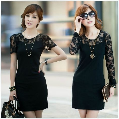 Black Dress Lace Sleeves Cocktail - Colorful Dress Images of ...