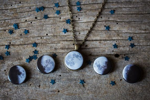 Interchangeable Moon Phase Necklace Silver or by