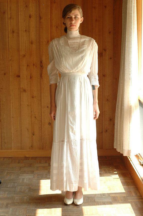 White Cotton Wedding Dress | Antique 1910 Dress Edwardian Lawn Dress White Cotton Wedding