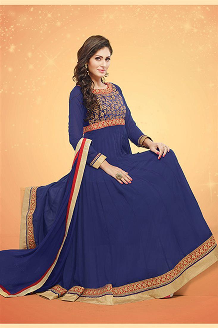 Snazzy Navy Blue Color Anarkali Salwar Kameez