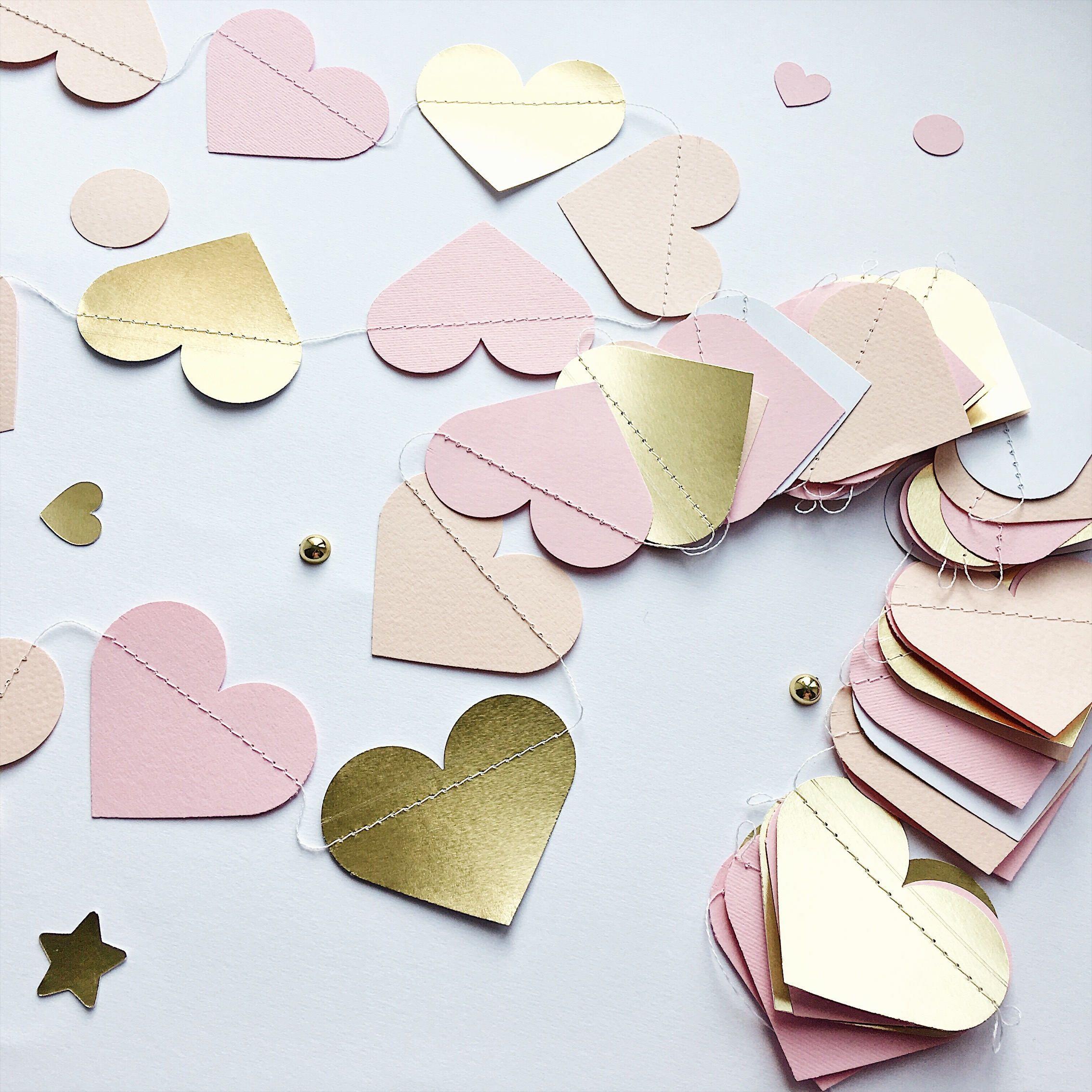 Gold Blush Pink Hearts Garland Blush Gold