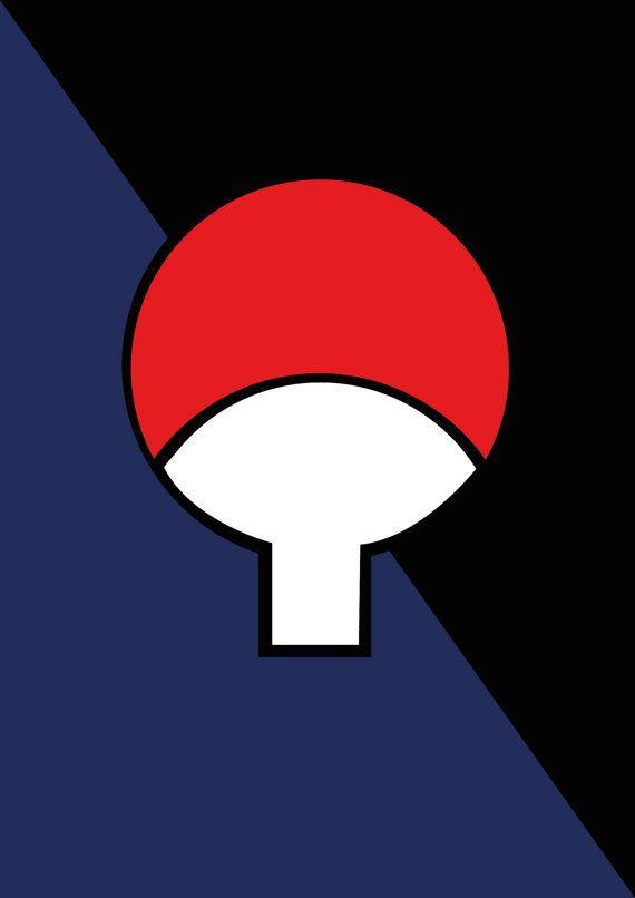 Naruto Poster, Uzumaki & Uchiha clan symbols, Minimalist ...