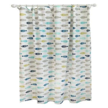 Fish Shower Curtain Calm Gray   Pillowfort™