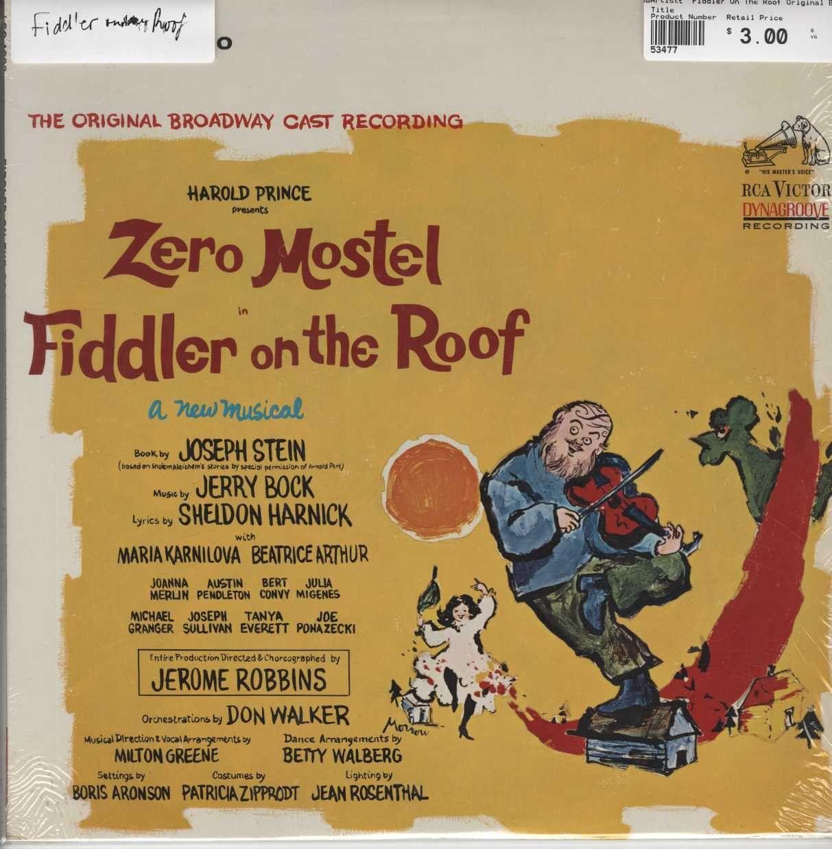 """""""Fiddler On The Roof"""" Original Broadway Cast Fiddler On"""