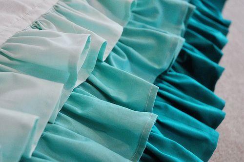 Ruffled waterfall bed or crib skirt