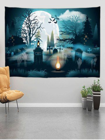 Halloween Grave Forest Digital Print Wall Tapestry#digital #forest #grave #halloween #print #tapestry #wall