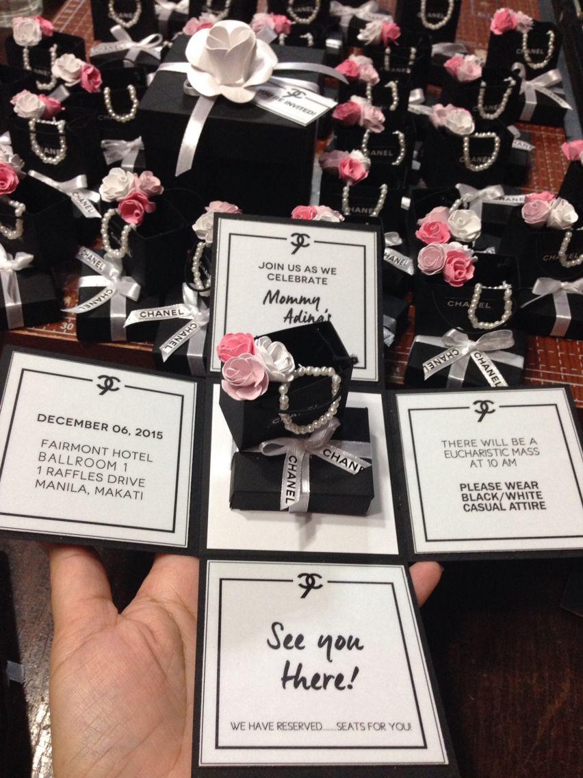 wording0th birthday party invitation%0A Chanel Invitation Card