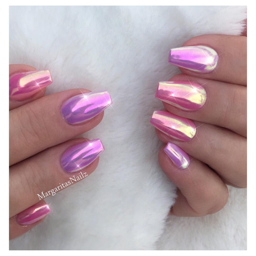 Pink Unicorn Chrome Coffin Nails Pink Chrome Nails Chrome Nails Wedding Nail Polish