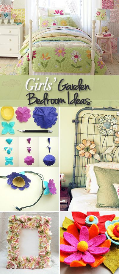 Girls' Garden Bedroom Ideas • Plenty of tutorials and ideas to turn your little girl's room into a pretty garden theme bedroom!