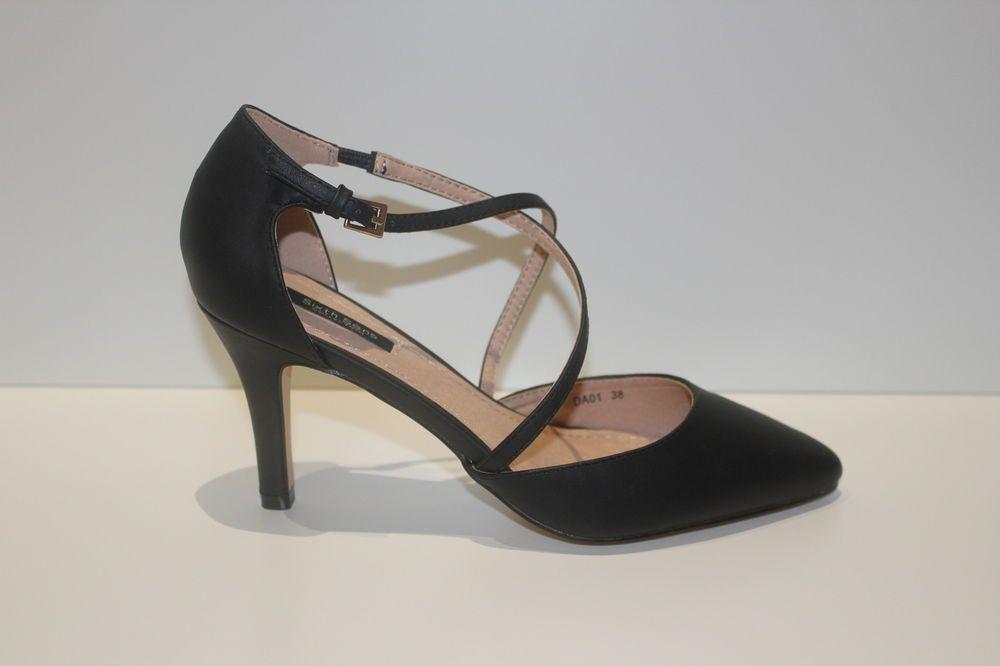c74299ef4fd7 Escarpins noirs lanières cuir chic chaussures femme soirée talons sexy hauts  39