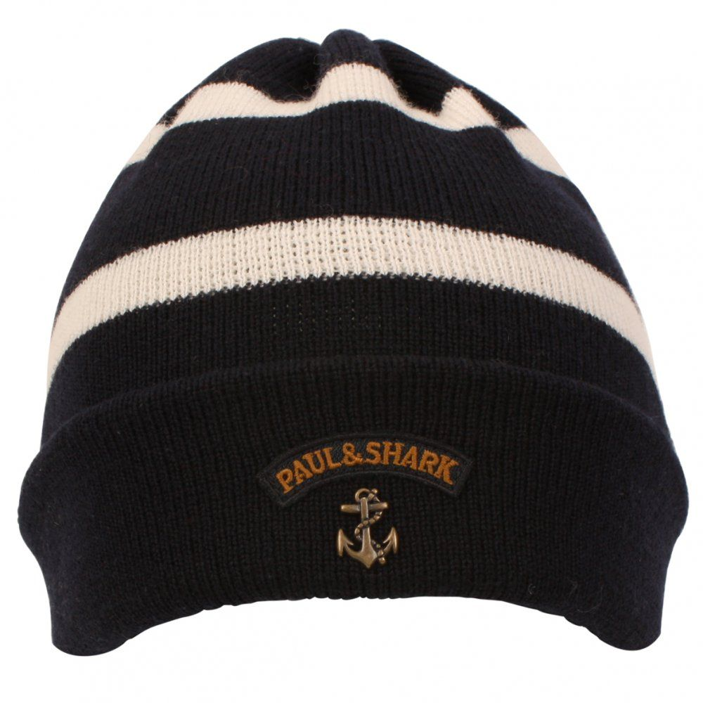 8f1b7a8e6a0ce Buy Mens Paul   Shark Striped Knitted Hat in Navy at Hurleys