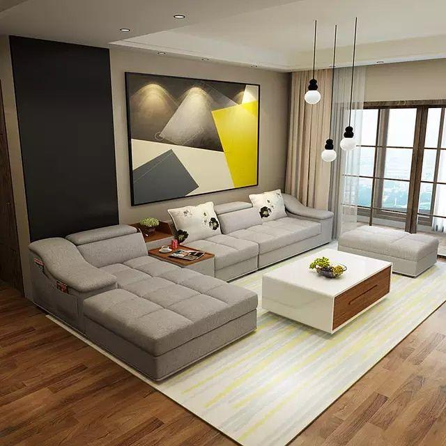 Muebles de sala moderno en forma de l tela sof seccional for Moderno furniture