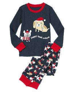 NEW Gymboree Boys Holiday Pajamas Gymmies PJs 3 4 5 yr Puppy Dog Hound 2 piece