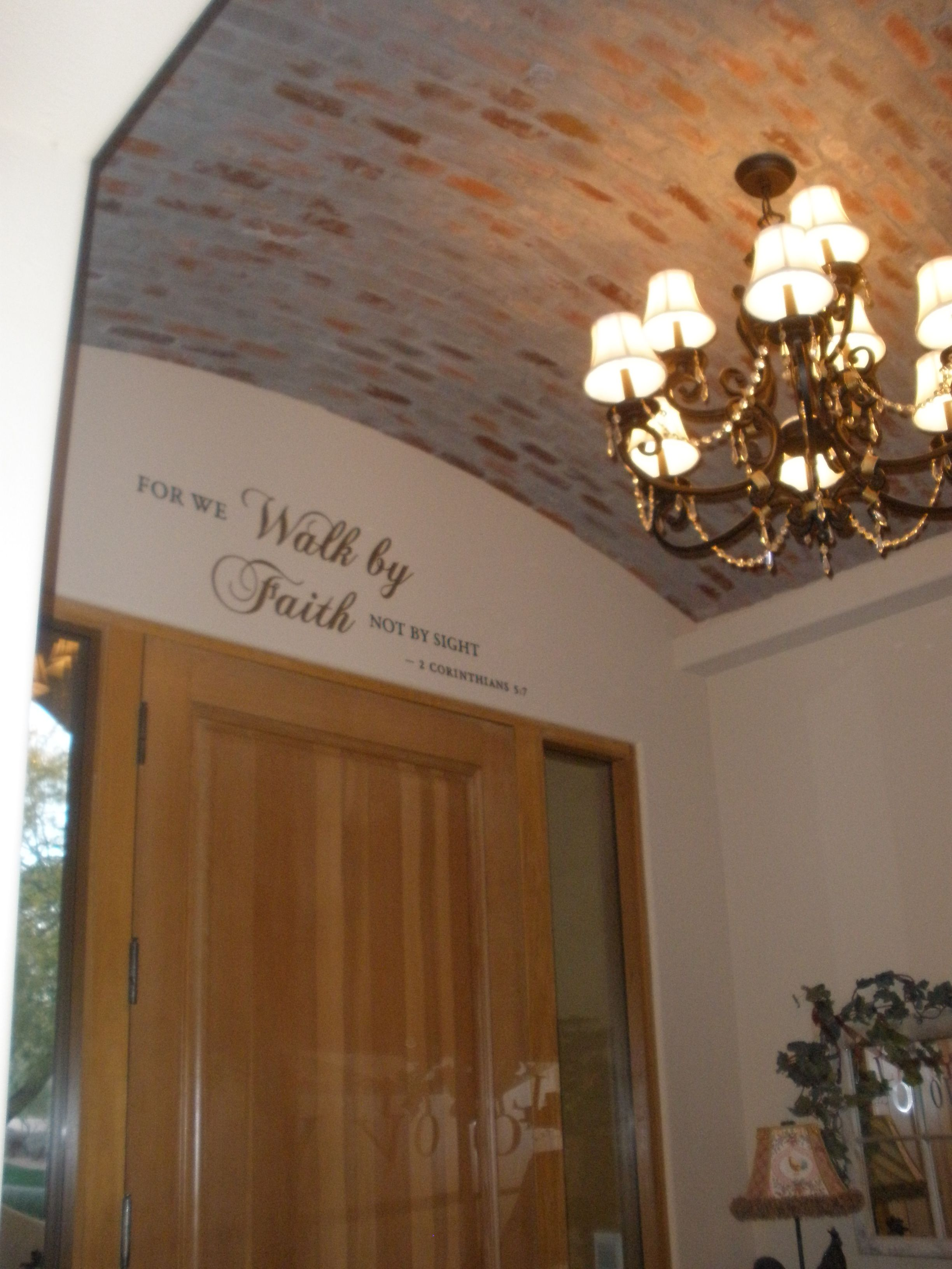 Love My Brick Barrel Ceiling In Front Foyer We Have Two Others In The House Ceiling Design Barrel Ceiling Home Decor