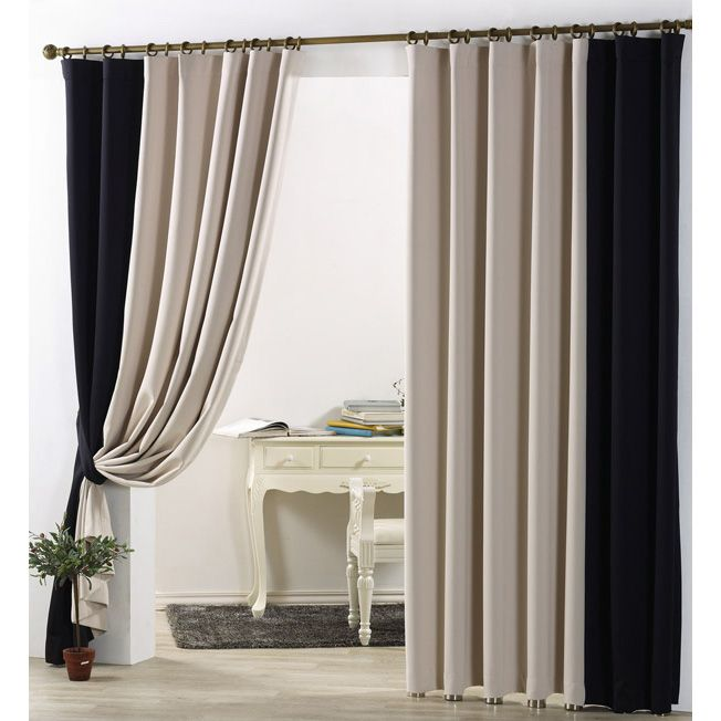 Simple Casual Blackout Curtain In Beige And Black Color For Bedroom Or Living Room Curtains Living Room Beige Curtains Living Room Black Living Room