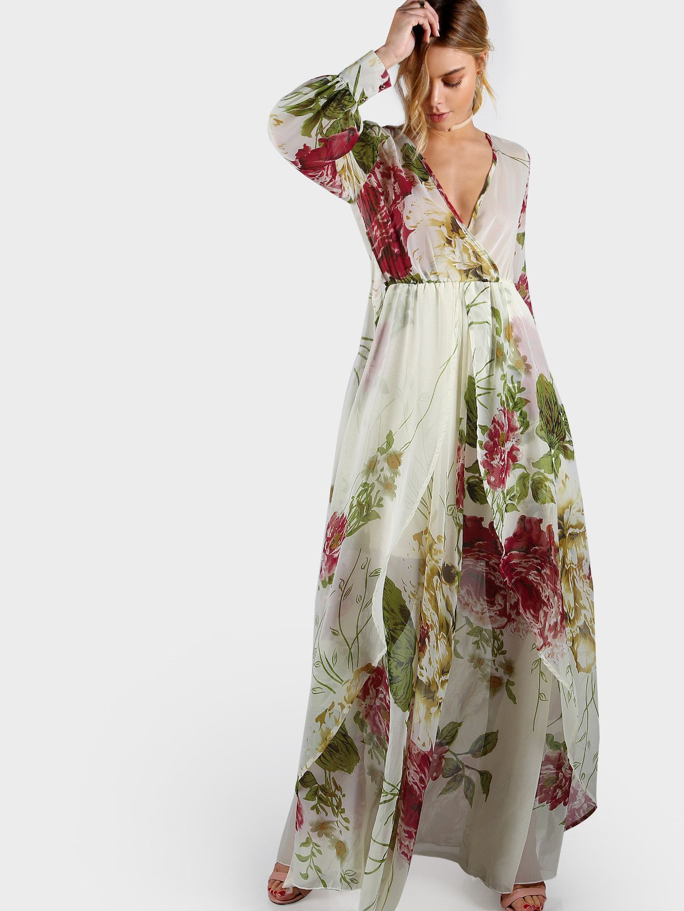 6e56a730332d ... L 21.5cm Fabric  Fabric has no stretch Season  Summer Pattern Type   Floral Sleeve Length  Long Sleeve Color  Multicolor Dresses Length  Maxi  Style  ...