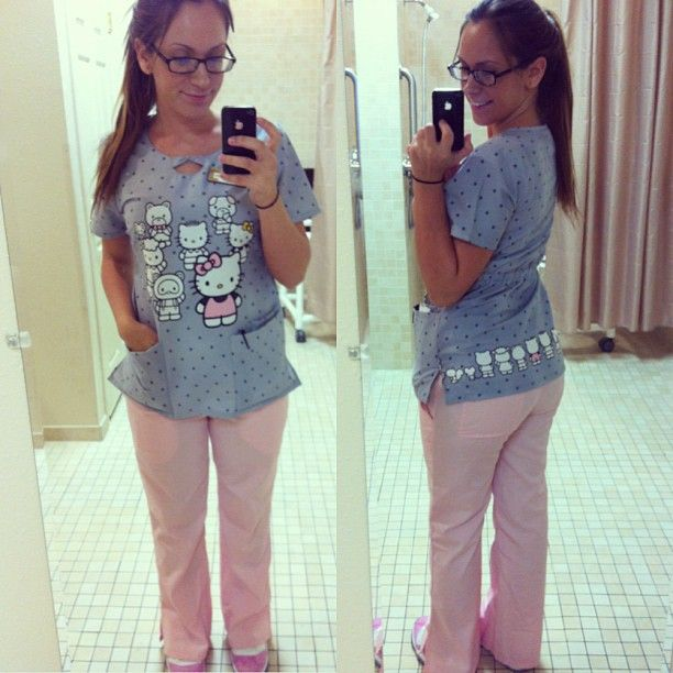 500911480a5 Hello Kitty scrubs, pink scrubs pants and pink shoes? We're loving this  girlie look!