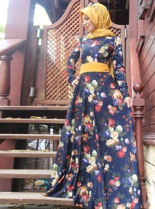 9e7fc63cf8251 Çiçek Desenli Elbise - Lacivert - Esra Üstün | moda in 2019 | Elbise ...