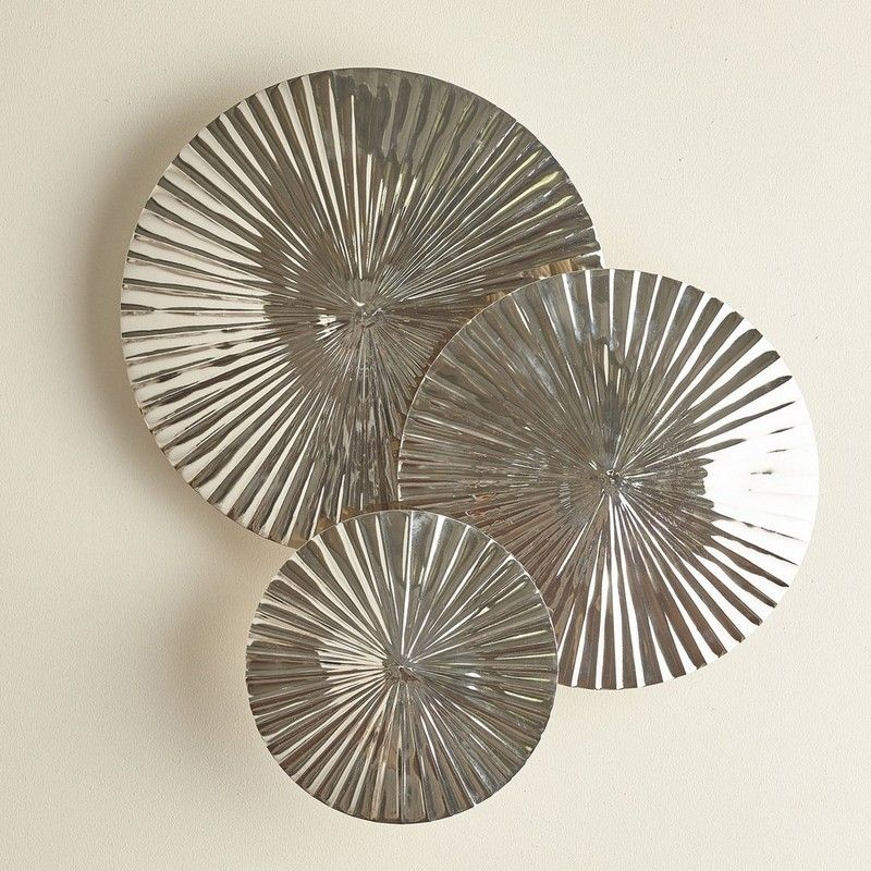Pleated Discs Wall Decor, Set Of 3 - Evoking the look of found ...