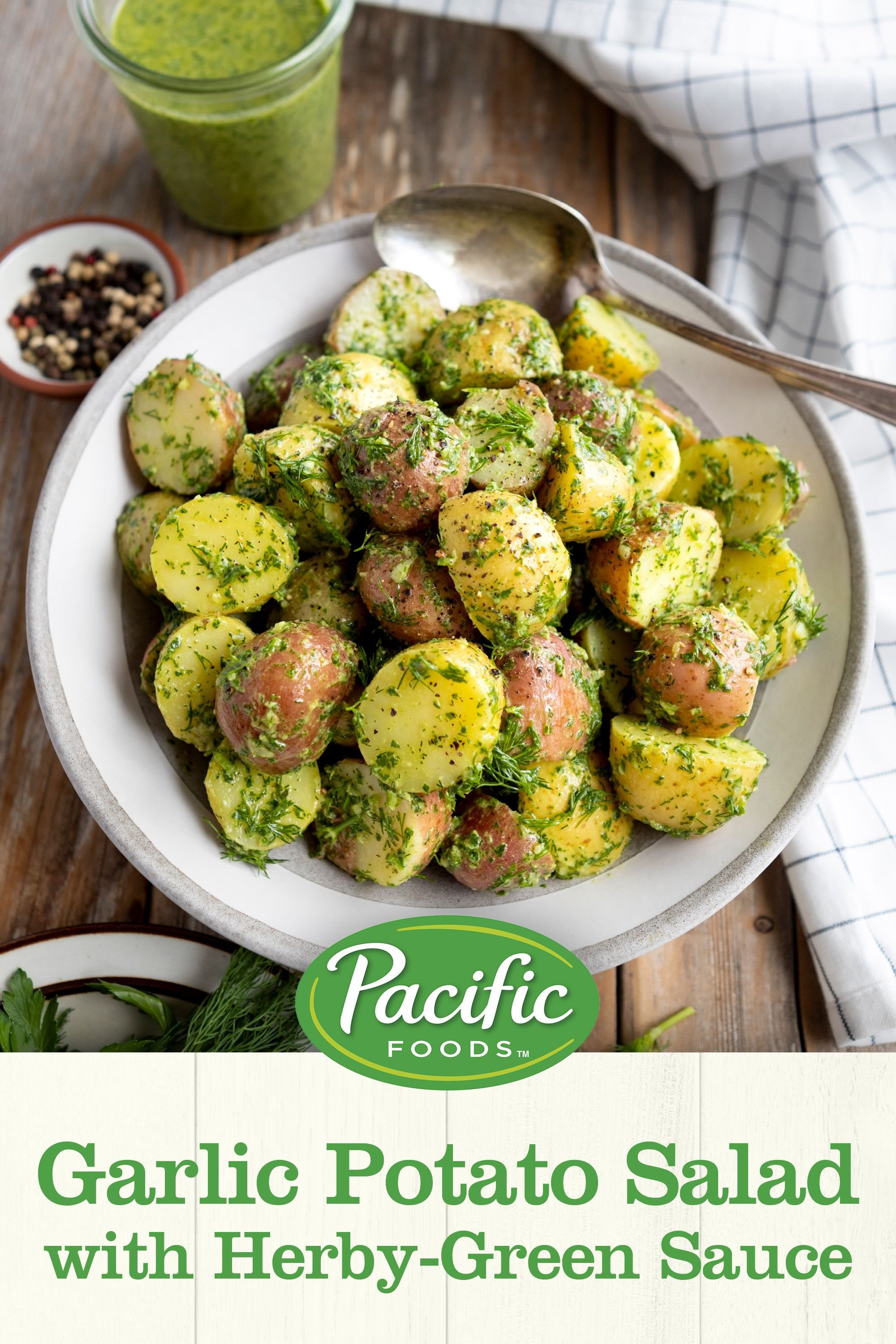 Garlic Potato Salad with Herby-Green Sauce Recipe | Pacific Foods