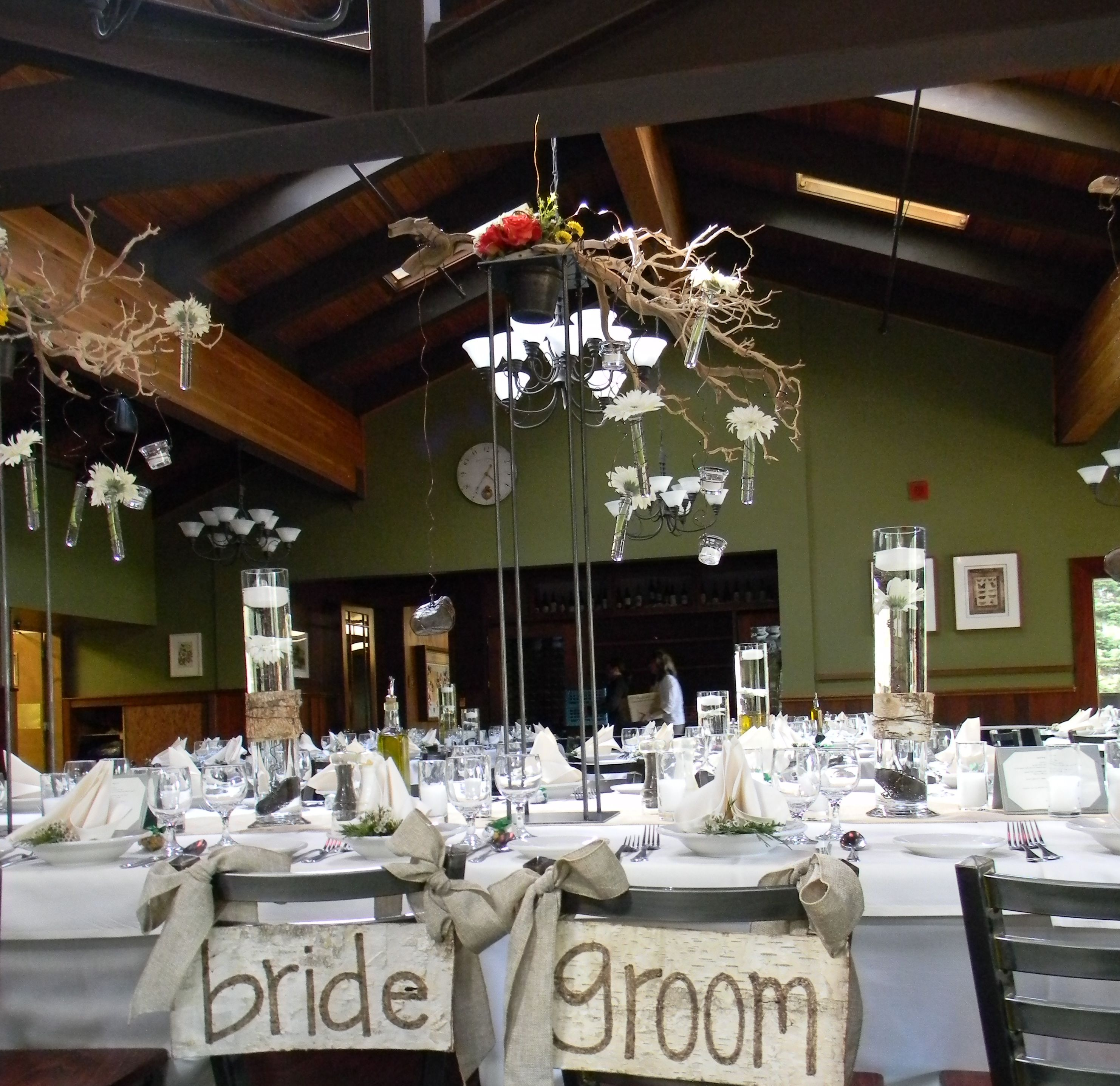 long table setup wedding reception%0A The dining room set for a spring reception dinner