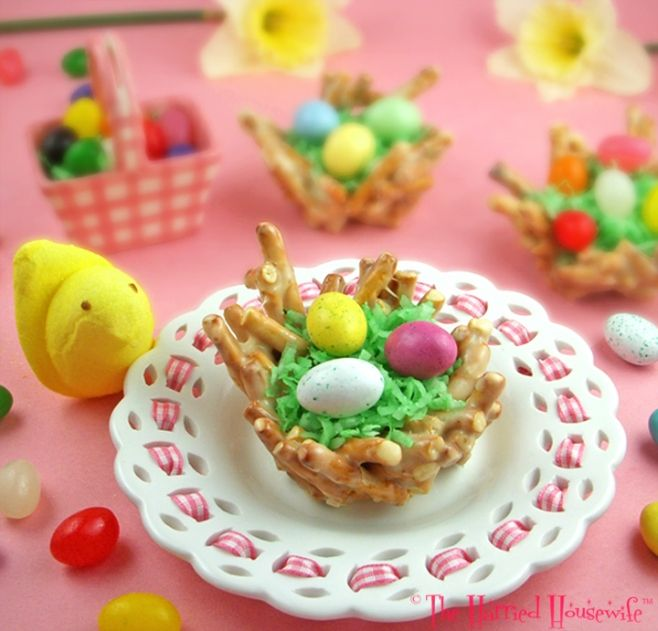 Spring Nests by harriedhousewifeblogs: The kids will love to help with these. #Treats #Spring_Nests #Easter #harriedhousewifeblots