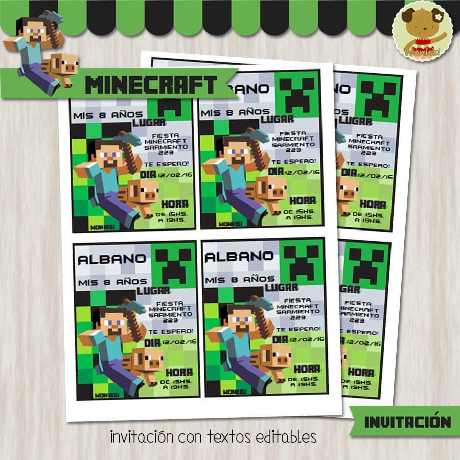 Invitacin De Cumpleaos De Minecraft Para Imprimir Descarga