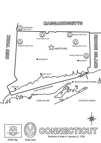 Map Of Connecticut Coloring Page Flag Coloring Pages Coloring
