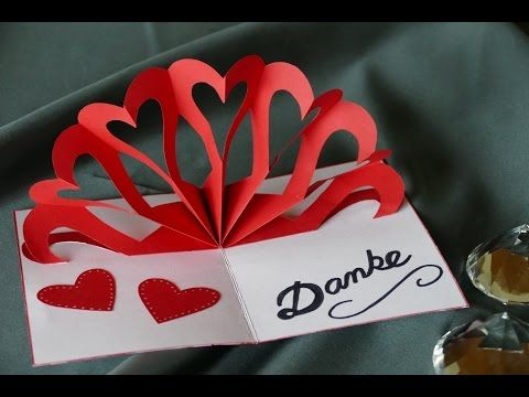 Herz Klappkarte Heart Pop Up Card Muttertag Hochzeit