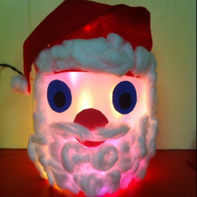Santa from a milk jug kids christmas crafts 2 for Christmas crafts with milk cartons