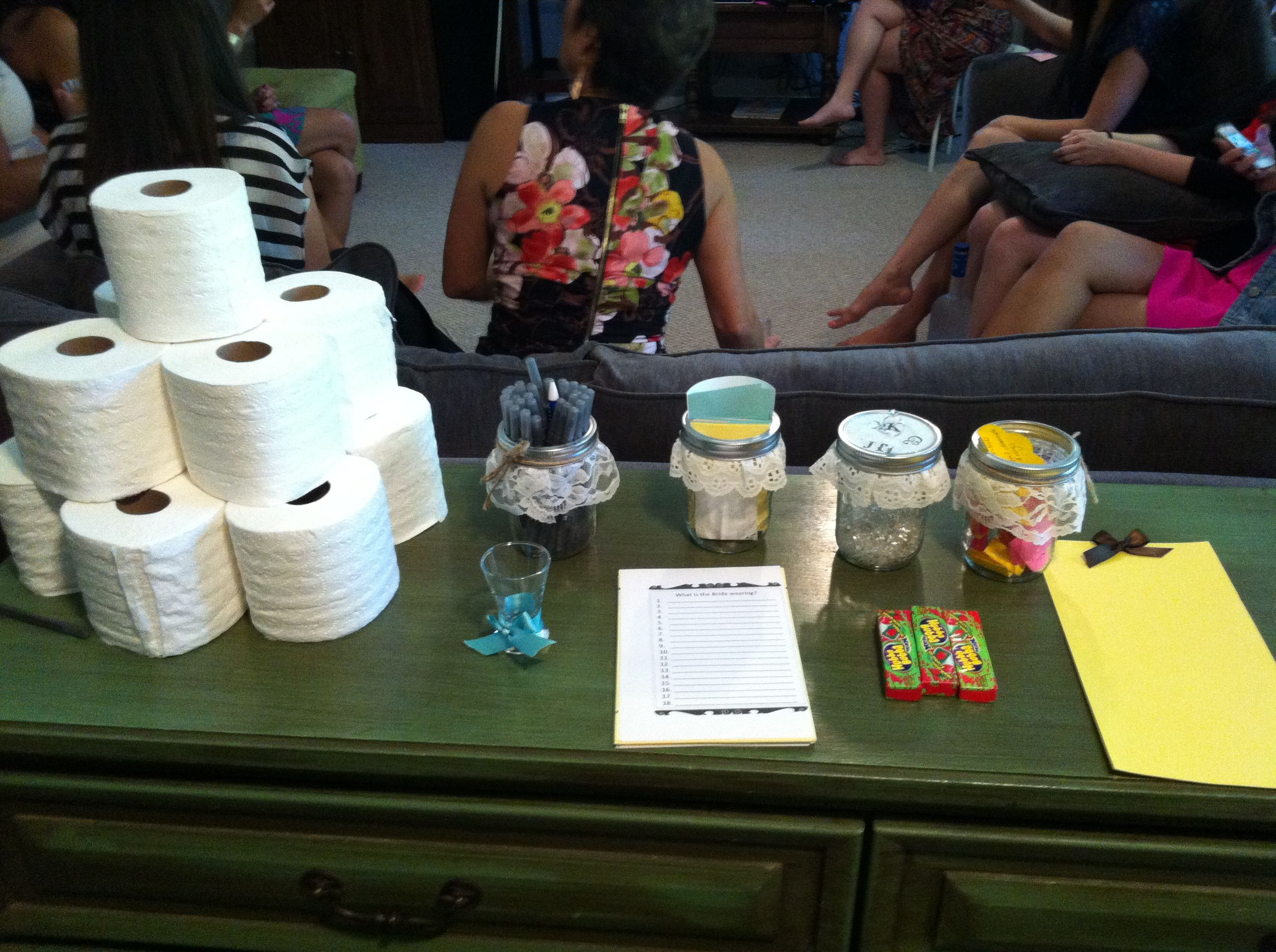 guess who bridal shower game printable%0A Bridal shower games  guess how many diamonds and rings in mason jar  toilet  paper