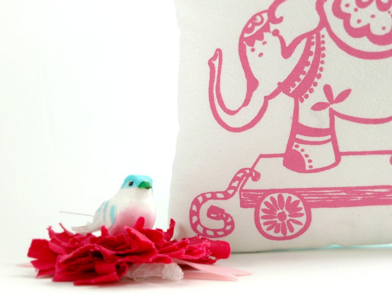 Nursery Pillow Elephant Pink Aqua Polka Dots by thebirdandelephant. , via Etsy.