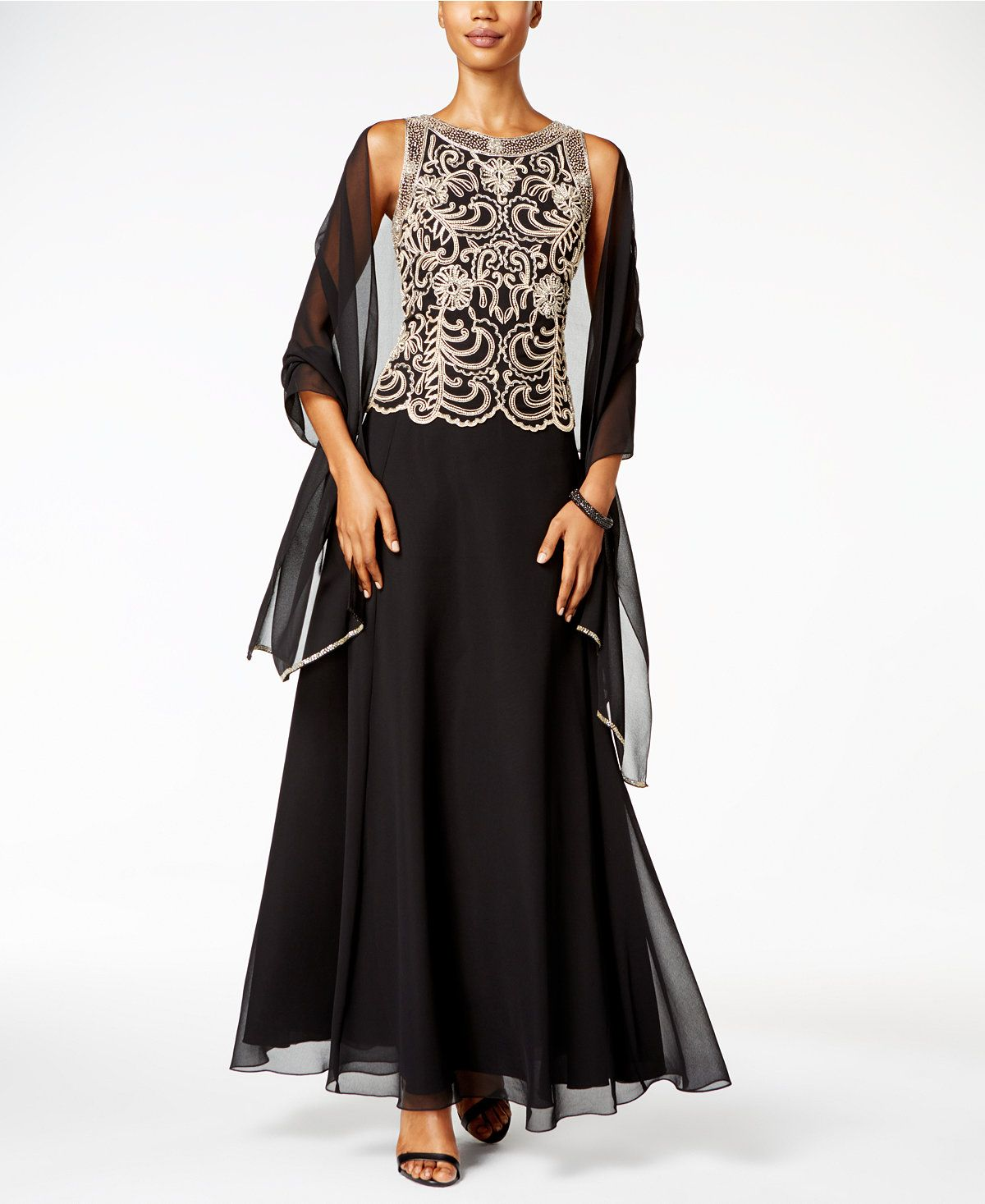 2574c2da912 J Kara Beaded A-Line Gown and Scarf - Dresses - Women - Macy s