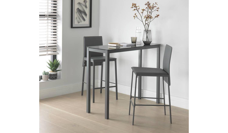 Argos Home Lido Glass Bar Table & 9 Grey Chairs   Glass bar table ...