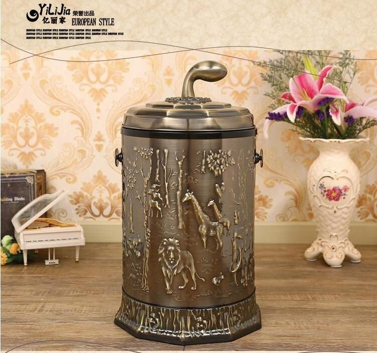 Luxury brown open top Stainless trash can