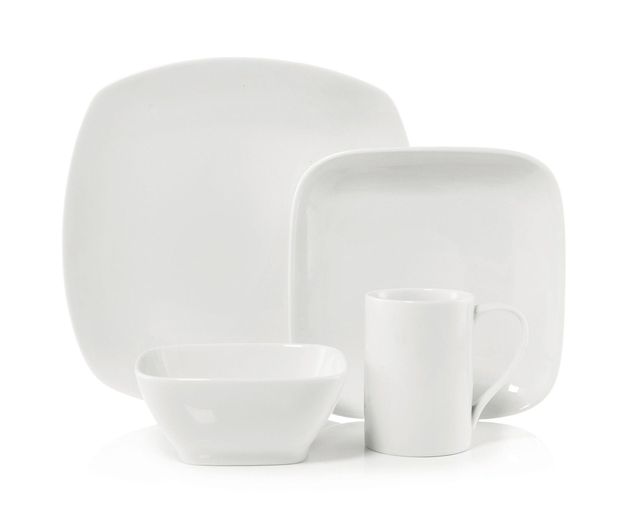 Qube II Super White dinnerware set, 16 PC (service for 4 ...