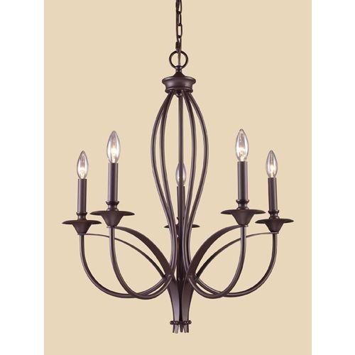 Zoomed: Westmore Lighting 5-Light Medford Oiled Bronze Chandelier