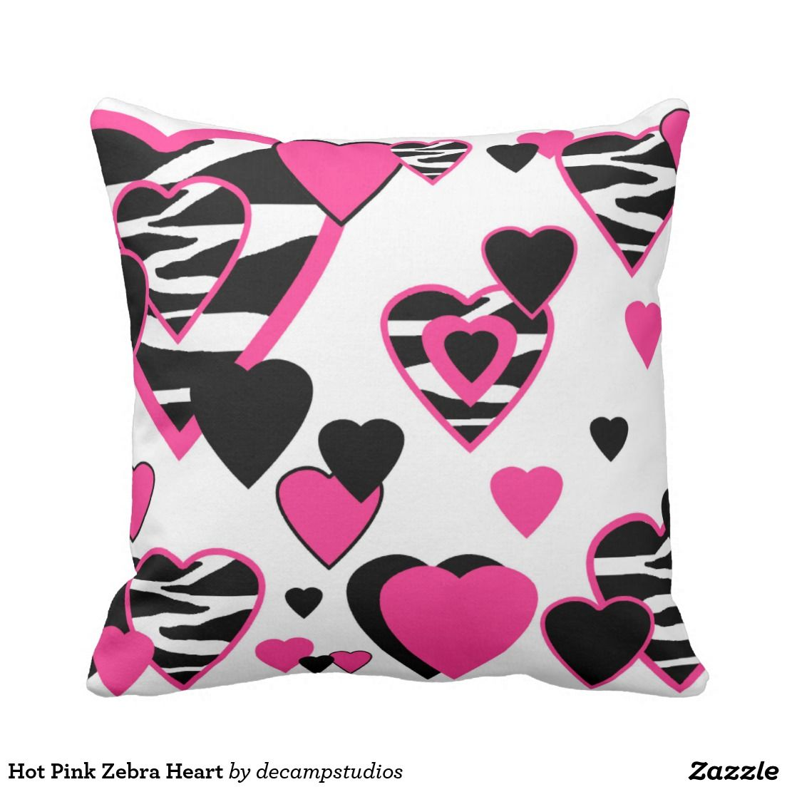Hot Pink Zebra Heart Throw Pillow