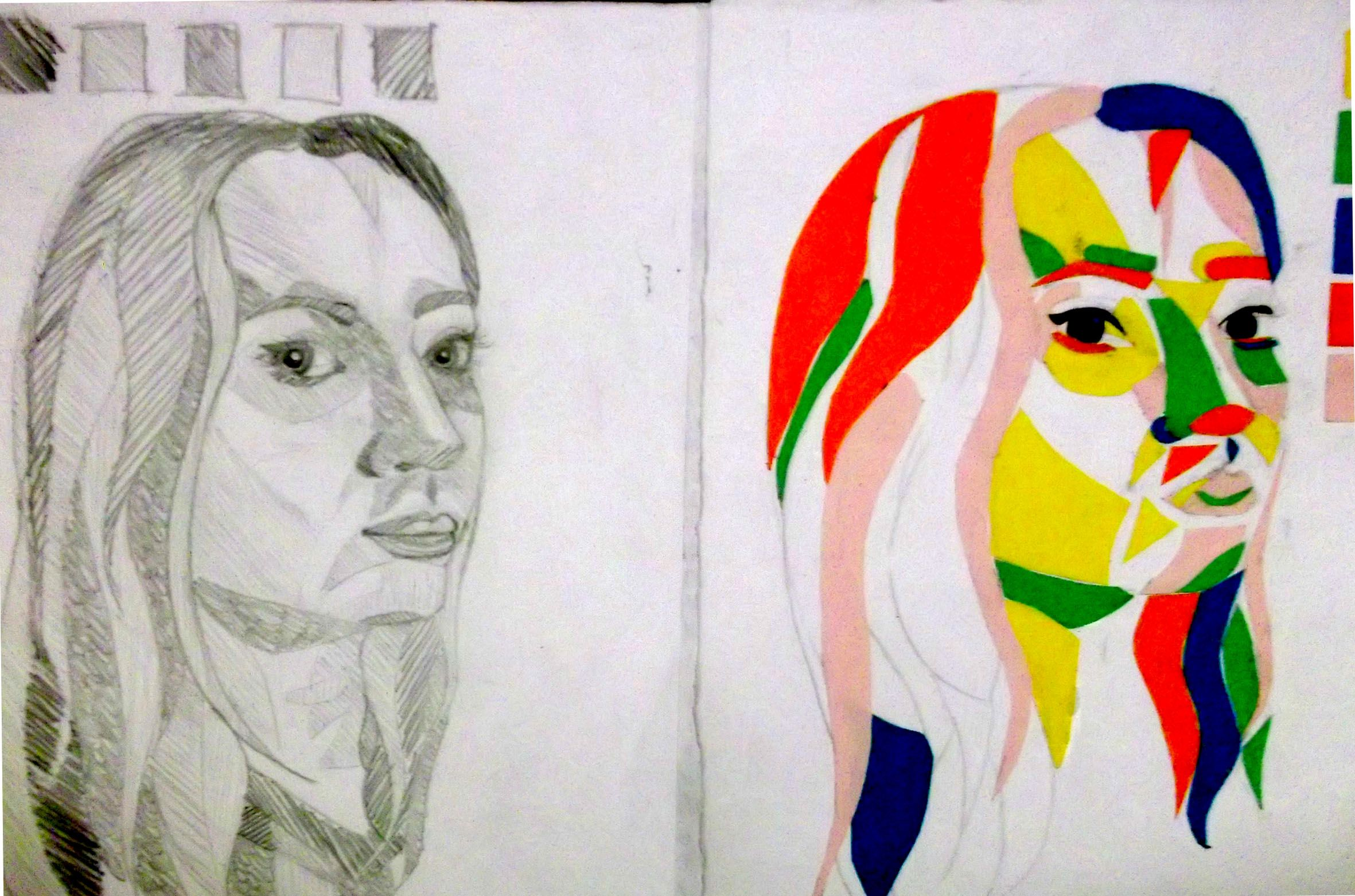 A2 Coursework - Self portraits using 5 tones.
