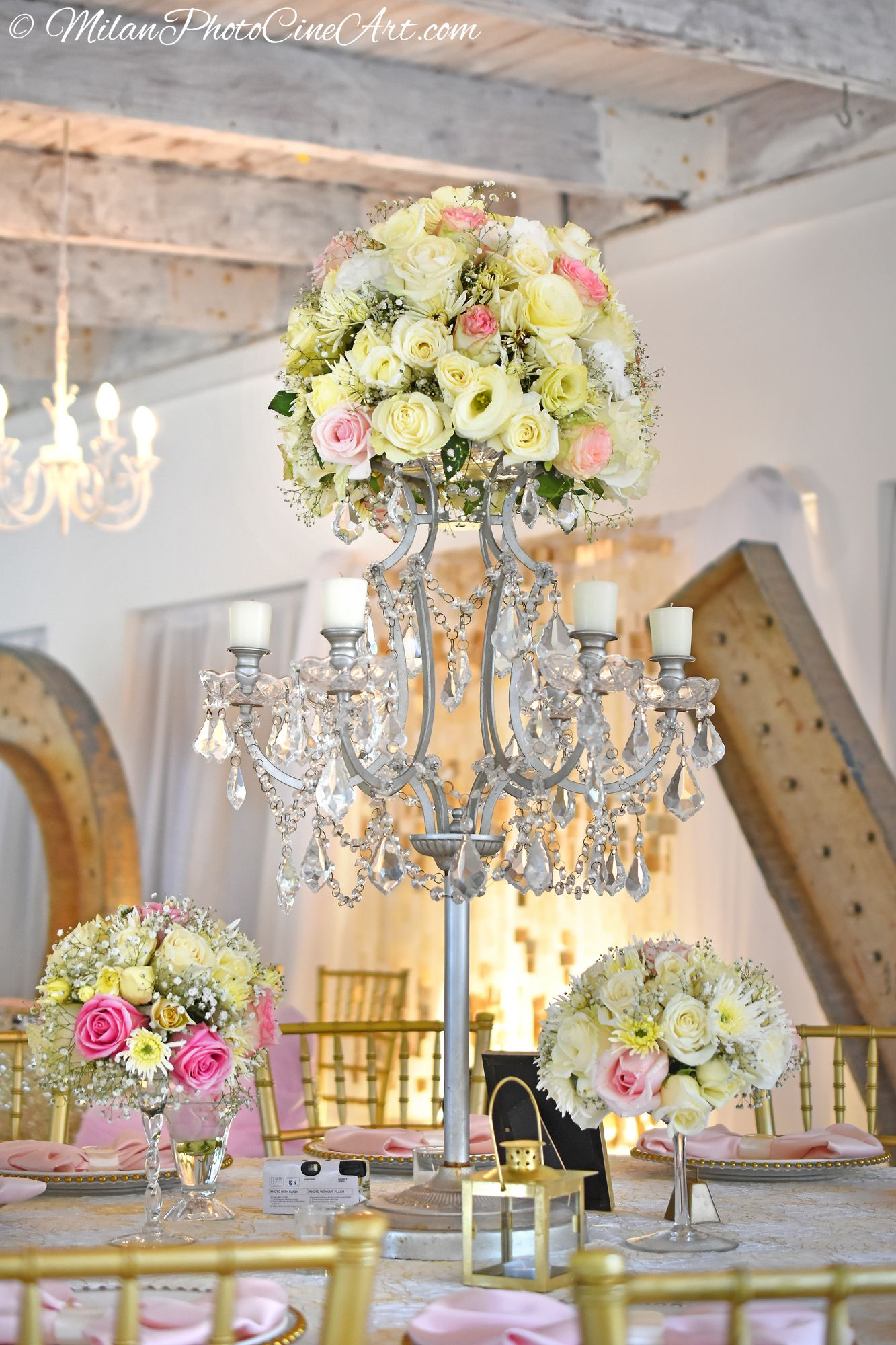 centerpieces for wedding receptions with candles%0A Silver chandelier and natural roses with candles  what elegance  Wedding  venue Kukua Punta Cana
