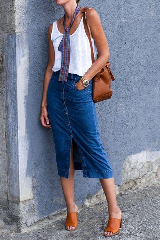 72766ecfbee 8 Ways to Wear a Denim Skirt Like a Grown-up
