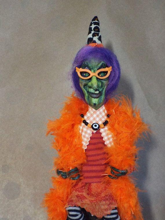 Witch Art Doll Party Hag Hilda Handmade Folk Art by llacreations