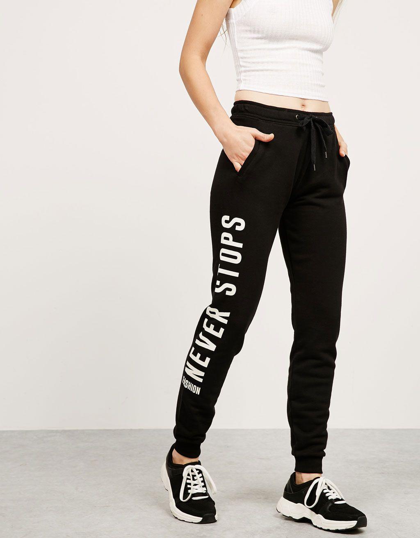 sensación cómoda comprar auténtico precio loco Pantalón felpa BSK texto lateral | ropa | Pantalones ...