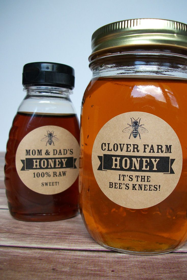 custom kraft honey bottle labels of honey and products