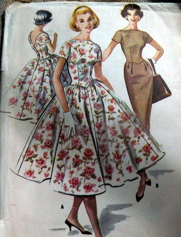 LOVELY VTG 1950s DRESS McCALLS Sewing Pattern 15/35