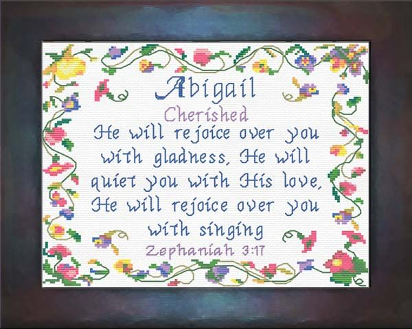 Cross Stitch Abigail with a name meaning and a Bible verse
